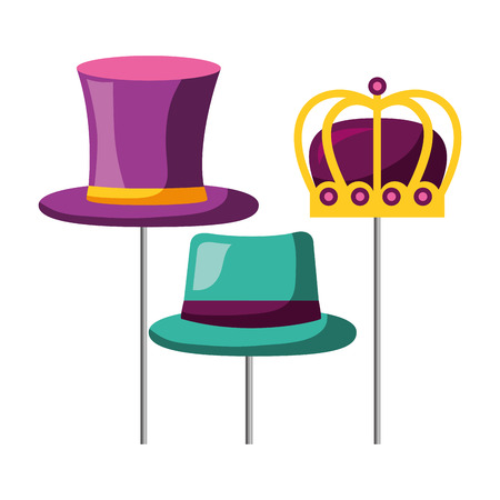 masquerade carnival festival top hat bowler and crown vector illustration