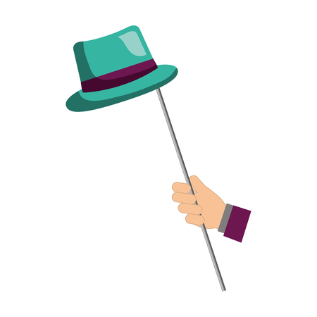 hand holding classic has in stick vector illustration  イラスト・ベクター素材