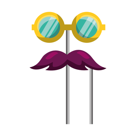 mustache and glasses carnival costume party vector illustration