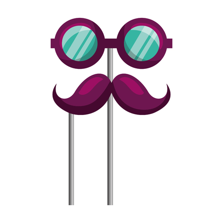 glasses and mustache carnival costume party vector illustration