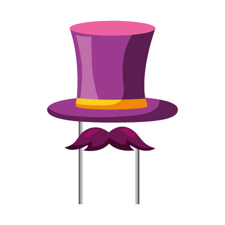 top hat mustache carnival costume party vector illustration