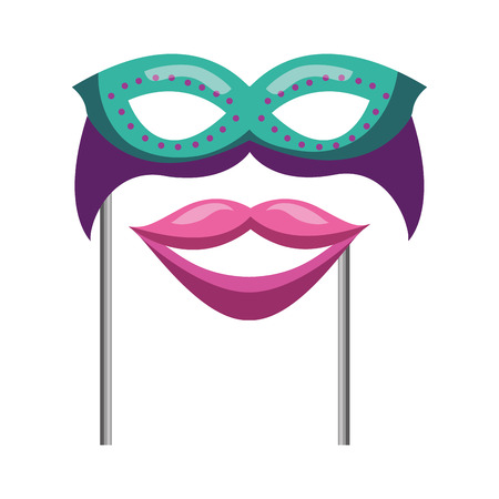 mask with mouth carnival costume party vector illustration