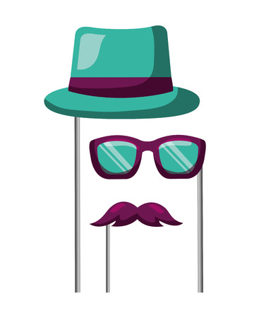 masquerade carnival festival hat mustache glasses in sticks vector illustration Illusztráció