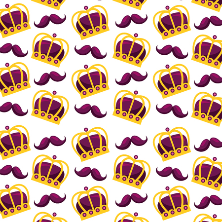 carnival festival crown and mustache pattern vector illustration