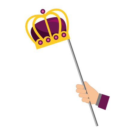 hand holding crown royal in stick vector illustration 일러스트