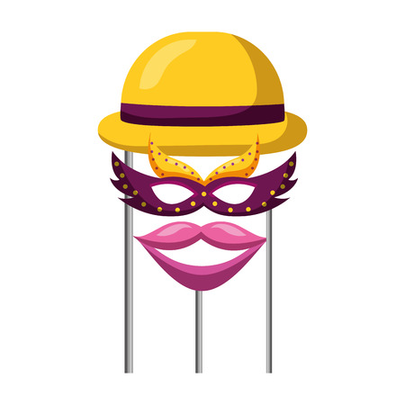 hat mask and mouth carnival costume party vector illustration