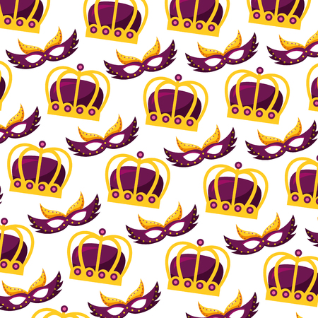crowns and masks carnival party pattern vector illustration