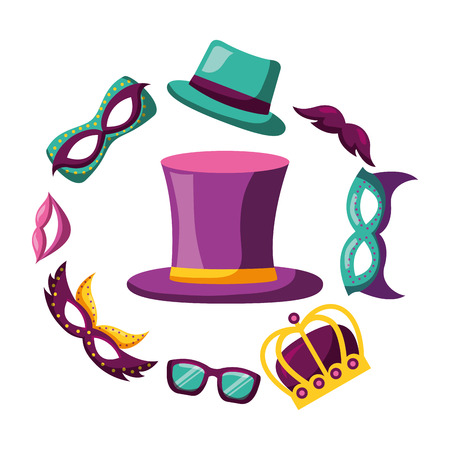 top hat with masks glasses crown carnival costume party vector illustration
