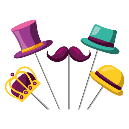 mustache hats crown carnival costume party vector illustration