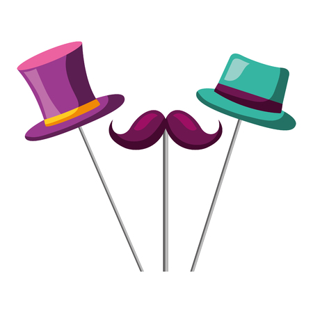 mustache top hat and bowler carnival costume party vector illustration