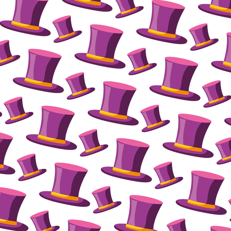 top hat classic carnival party pattern vector illustration
