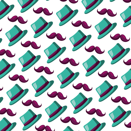 classic hat and mustache carnival party pattern vector illustration
