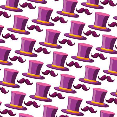 top hat and mustaches carnival party pattern vector illustration