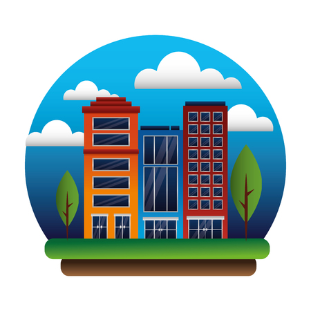 buildings architecture facade trees sky scene vector illustration