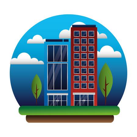 buildings architecture facade trees sky scene vector illustration Stock Vector - 108918815