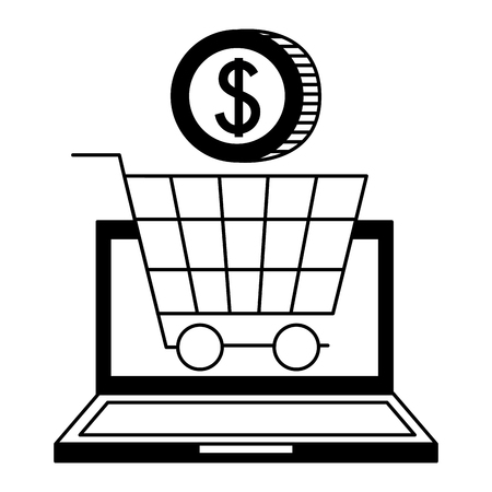 laptop computer money coin shopping cart cyber monday vector illustration