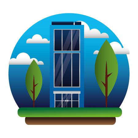 building outdoors facade exterior trees vector illustration Stock Vector - 108918817