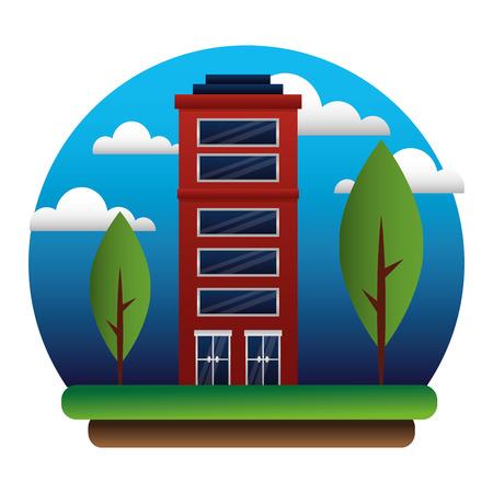 building outdoors facade exterior trees vector illustration