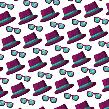 hat and glasses accessories carnival party pattern vector illustration Illustration