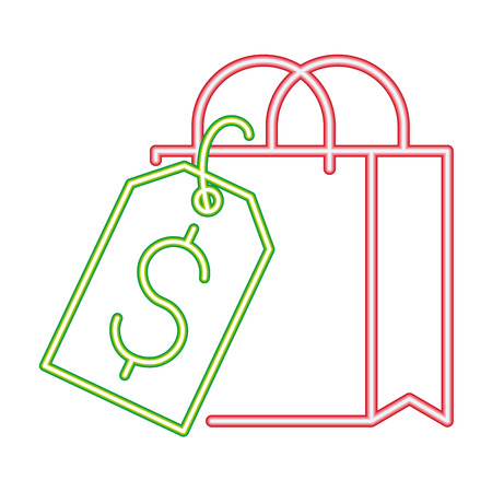 online shopping bag tag price cyber monday vector illustration neon