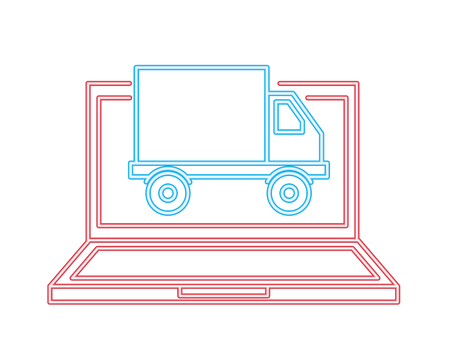 laptop computer truck delivery cyber monday vector illustration neon