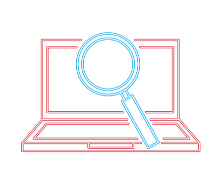 laptop computer magnifying glass search vector illustration neon