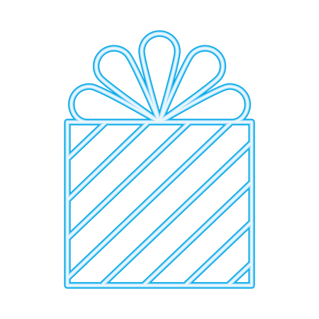 wrapper gift box surprise with stripes vector illustration neon Ilustração