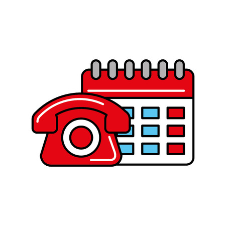 telephone calendar online shopping logistic vector illustration