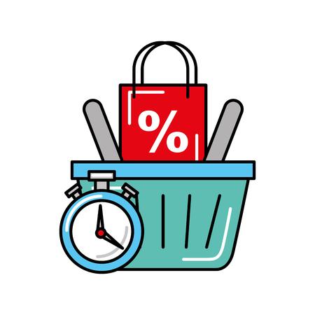 online shopping logistic clock basket bag percentage vector illustration Ilustração Vetorial