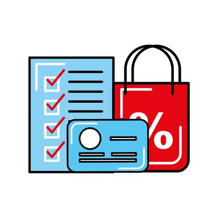 online shopping logistic credit card checklist vector illustration