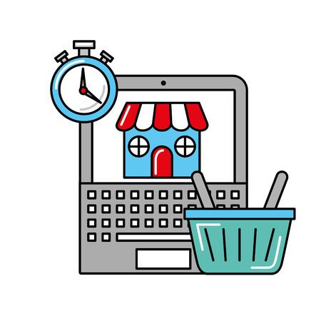 laptop basket market time online shopping logistic vector illustration
