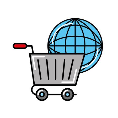 online shopping cart world logistic vector illustration Ilustração