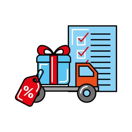Ilustración de vector de regalo de entrega de camión logístico de compras en línea