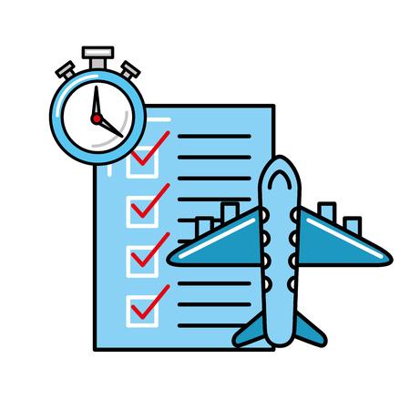 online shopping logistic airplane check list clock vector illustration Illustration