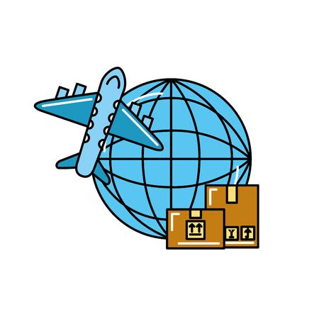 online shopping logistic cardboard box world airplane vector illustration