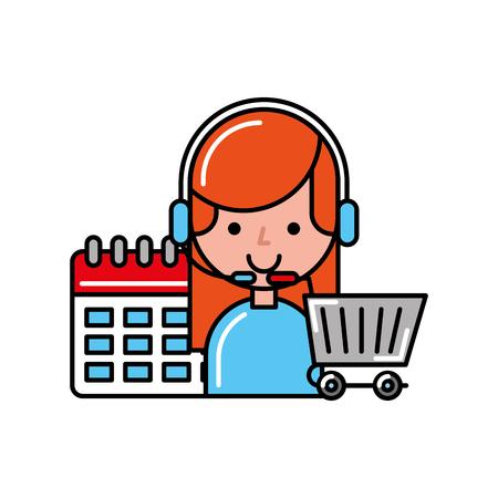 operator girl online shopping cart calendar vector illustration