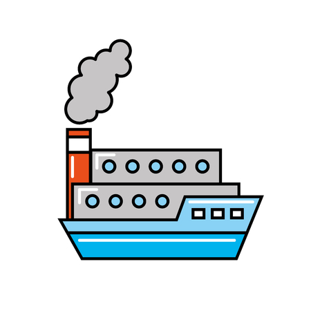 boat shipping container transport maritime vector illustration Illustration