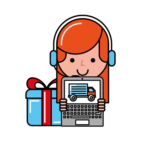 operator girl with laptop delivery gift online shopping vector illustration