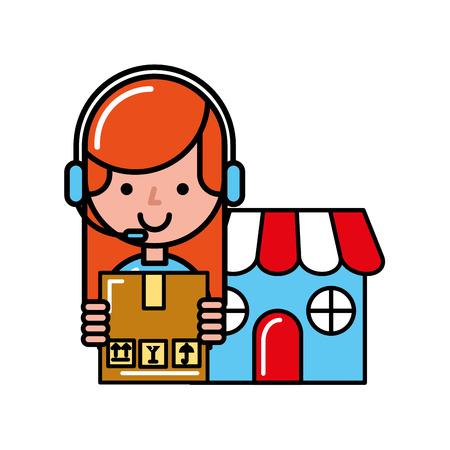 operator girl market cardboard box online shopping vector illustration Çizim