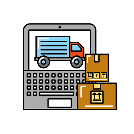 laptop truck cardboard boxes online shopping logistic vector illustration