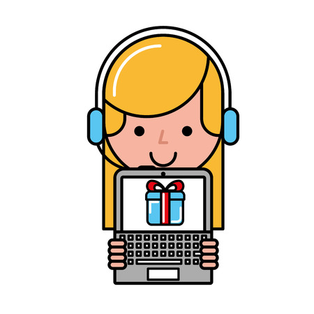 operator girl laptop gift box online shopping vector illustration Illustration