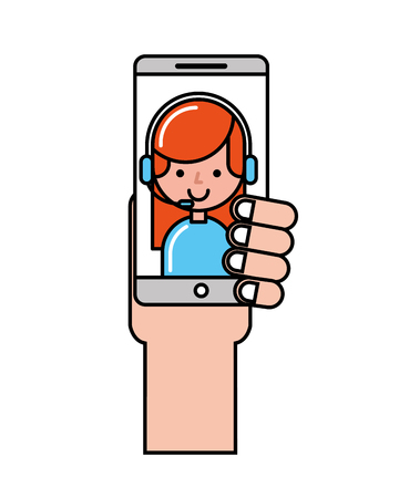 hand with smartphone operator girl online shopping vector illustration