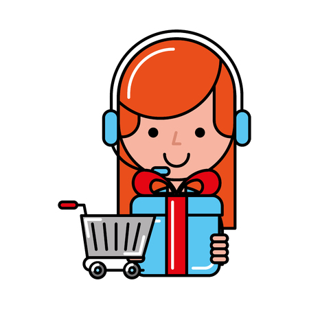 operator girl gift box online shopping cart vector illustration
