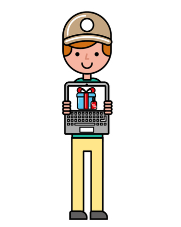operator with laptop online shopping logistic vector illustration