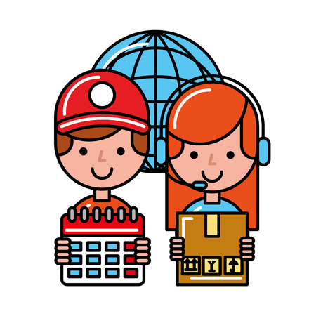 operator girl and boy with calendar and box online shopping vector illustration