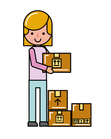 customer girl cardboard boxes online shopping logistic vector illustration