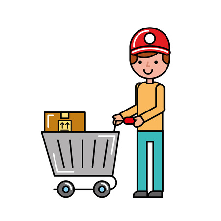 customer boy with cart boxes shopping vector illustration Illustration