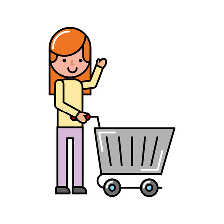 customer girl with cart shopping market vector illustration