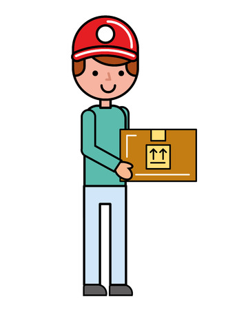 customer man holding box online shopping vector illustration