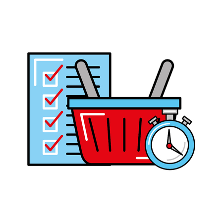 online shopping logistic time basket and check list vector illustration